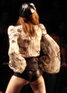 A Model in Miss Sixty Leather Shorts During Fashion Week 2009