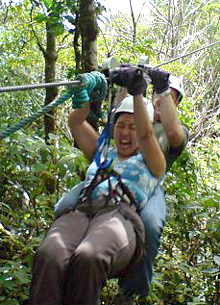 Rachel on a Zip Line in Costa Rica